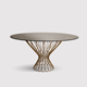 Foshan top Furniture Gold Glass Dining Table Mirror Dinning Round Table For Wedding
