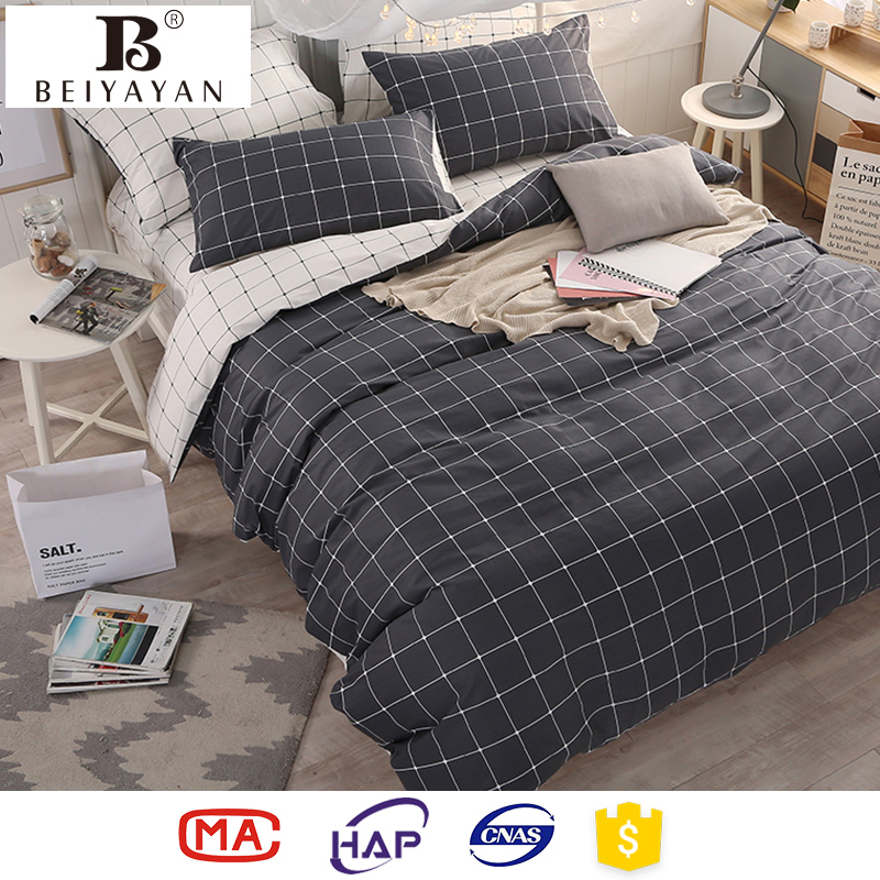 BEIYAYAN pure cotton bed comforter set black color queen king size duvet cover