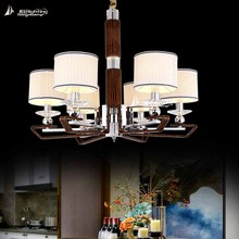 New style brown leather k9 crystal chandelier light