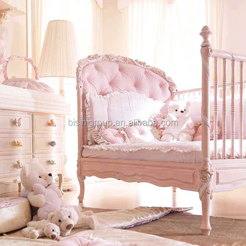 solid wood nursery furniture. Classic Rococo Ornate Solid Wood Reproduction Baby Crib In Pink, Antique European Nursery Furniture BF12