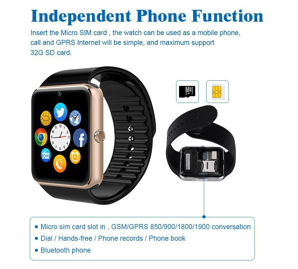 Smartwatch gt08 Bluetooth Smart Watch with Camera Sweatproof SIM card SD/TF Card Slot Pedometer Hand Free Notifier Reminding Activity Tracker gt08 smartwatch for Iphone and Android Samsung Smartphones