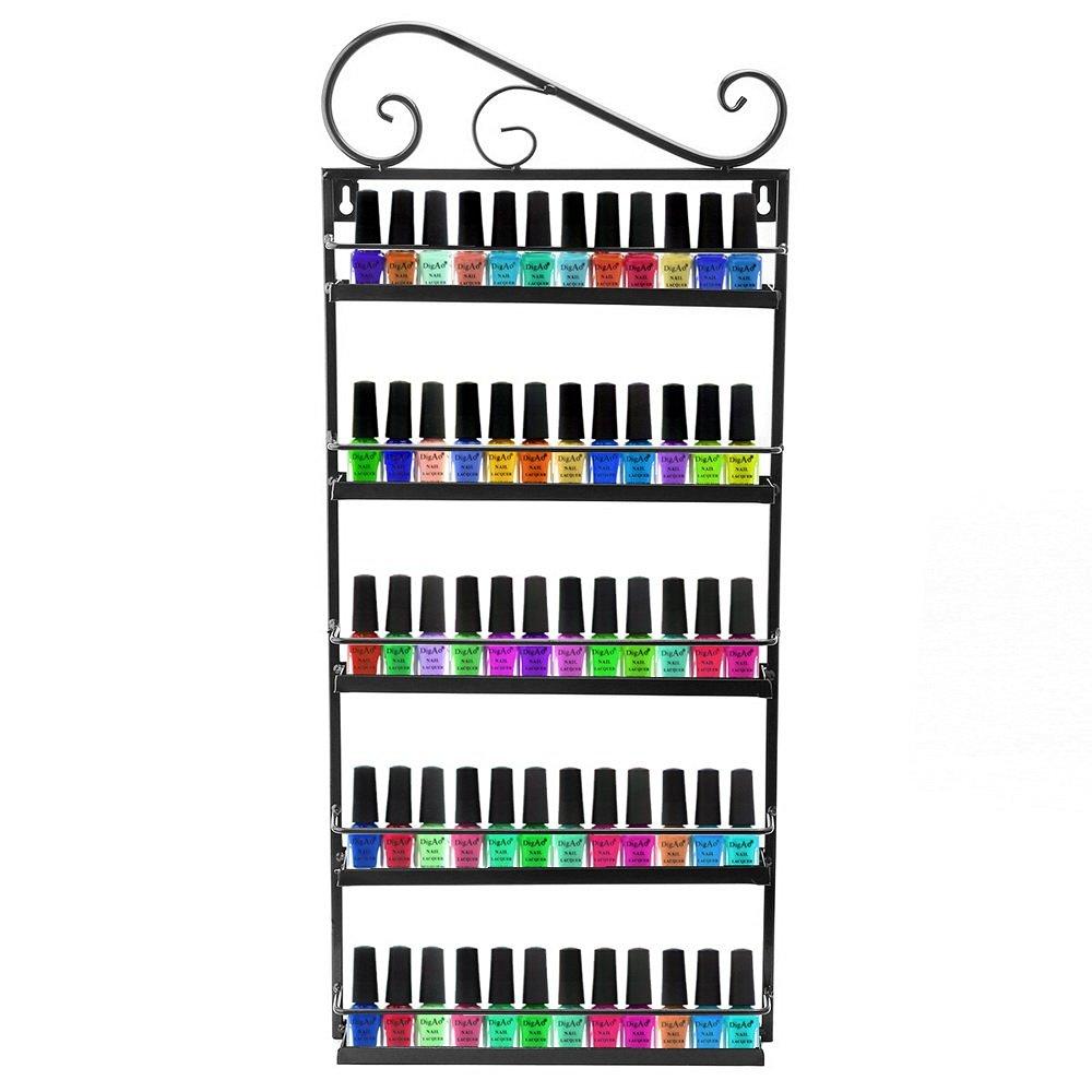 Dazone® Wall Mount 5 Tiers Nail Polish Rack Organizer Hold 60 Bottles Nail Polish Shelf (Black)
