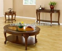 CF30025 Wooden Oval Coffee End Sofa Table with shelf