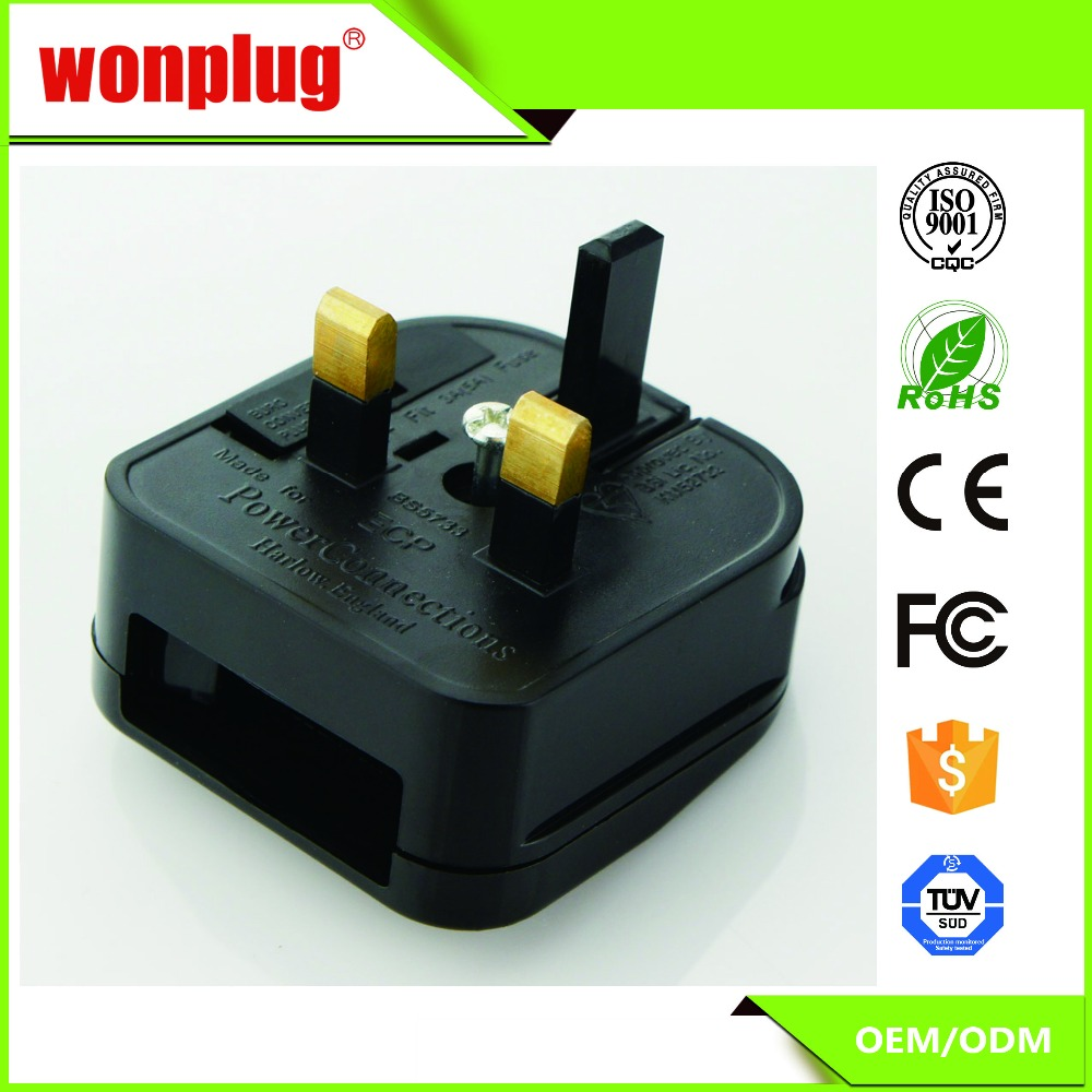 UK plug adapter Travel European 2 pin plug to UK 3 pin Travel Adapter Plug