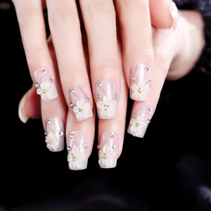 24 Pcs /box Pre-glue White Flower Nail Tips Press on for Girls Kits patch for Finger AL26