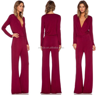 women long sleeve long leggings Self tie waist jumpsuit manufacture made in china