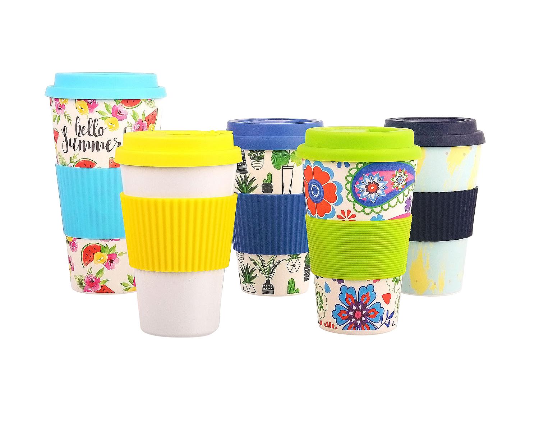 custom logo size 450ml/16OZ OEM band 100% bpa free food grade bamboo fiber cup travel coffee mug with silicone lid