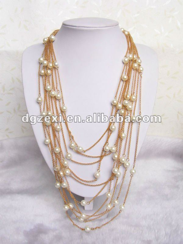 1f714c9a772 Mult-layers Gold Chain Necklace With White Pearl Beads - Buy Layer  Necklace,Layer Necklace,Layer Pearl Necklace Product on Alibaba.com