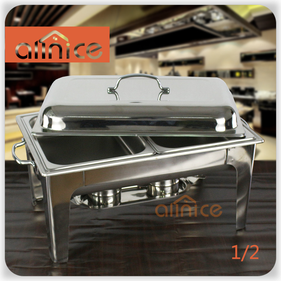 Allnice - ACTYKZZCL01 Stainless Steel Full Economy Buffet Chafer, Rectangular, 8-Quart w/unfolding legs