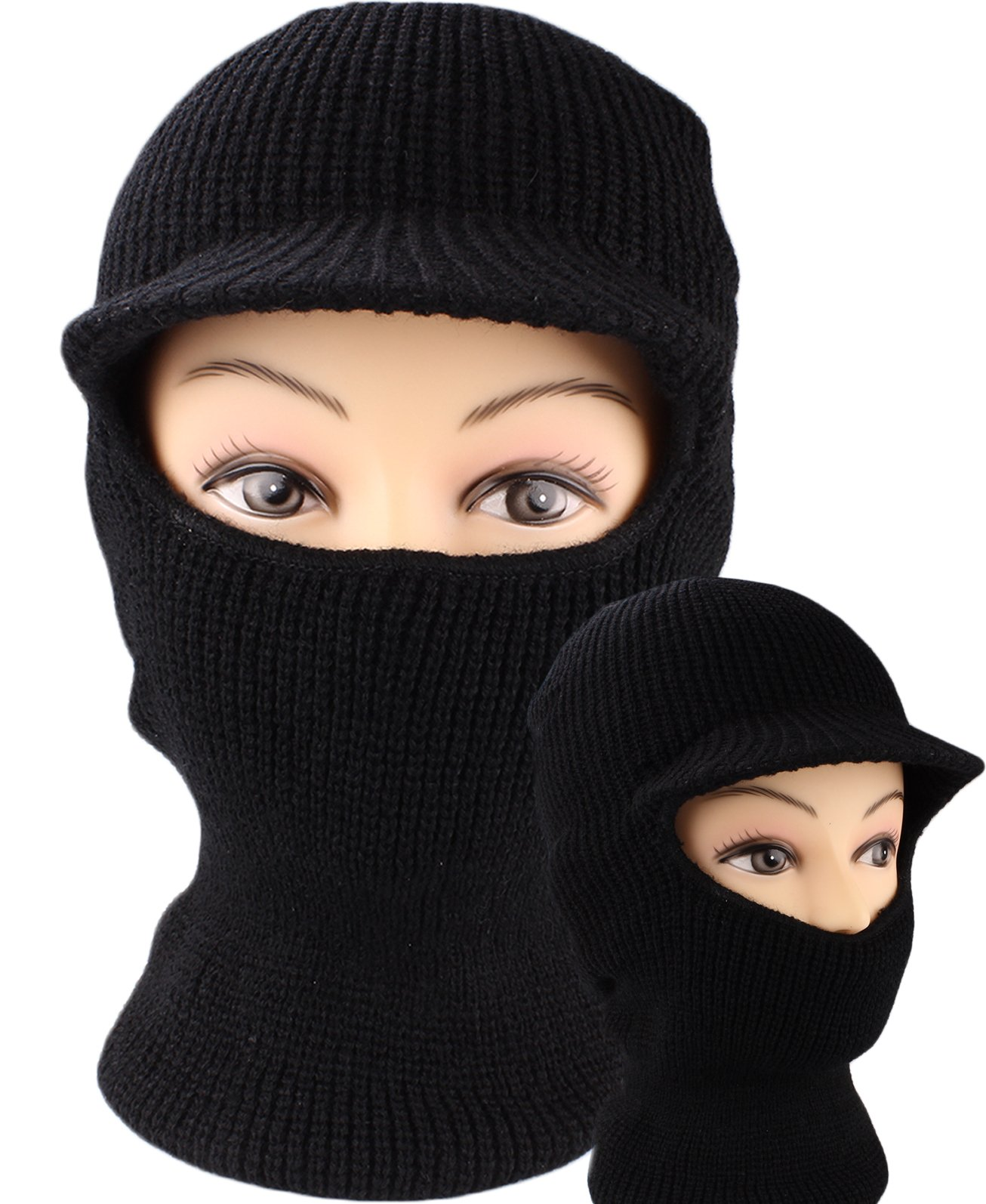 fceb761f7a9 Get Quotations · Black Knit One Hole Ski Face Mask with Visor Balaclava for  Skiing Hunting Biking