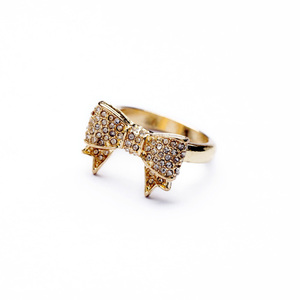 Wholesale Gold Bowknot Cute Rhinestone Ring