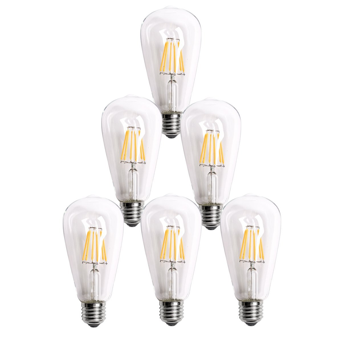 Homestia LED Clear ST64 6W 110V Warm Lighting Filament High Operating Life Antique Edison Style Bulb(6 pack)
