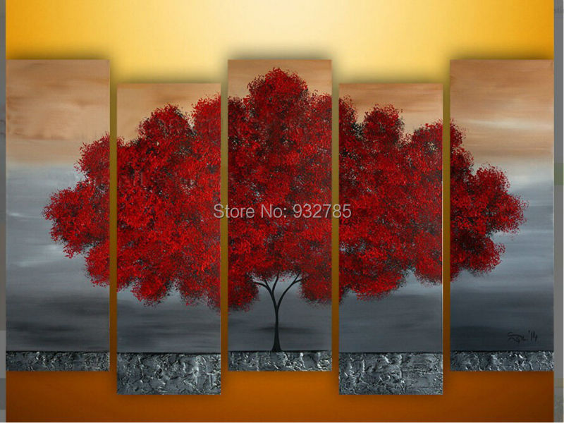 5 Panels Beautiful Red Color Life Tree 100% Handmade
