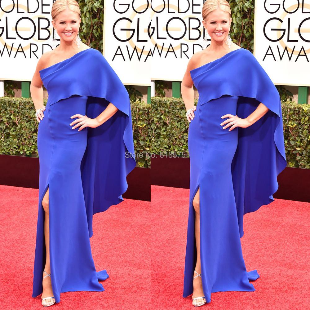 2015 New Style 72nd Golden Globe Satin Sheath One Shoulder Blue Evening Dress Nancy O'Dell Celebrity Dresses