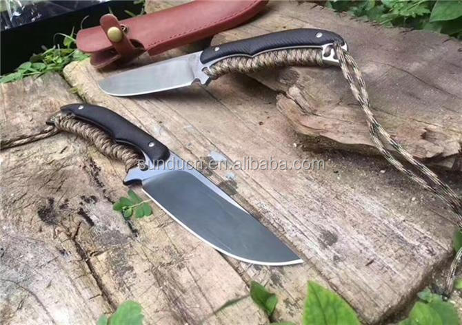 D2 Steel Blade Full Tang Cord Wrapped Handle Black Titanium Blade Finish Fixed Blade Knife