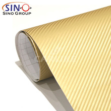 SINO CAR STICKER Air Free 3D Carbon Fiber Gold Car Wrap Vinyl Foil Carbon