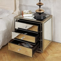 High Quality Low Price Mirrored Bedside Table 3 Drawer Cabinet.