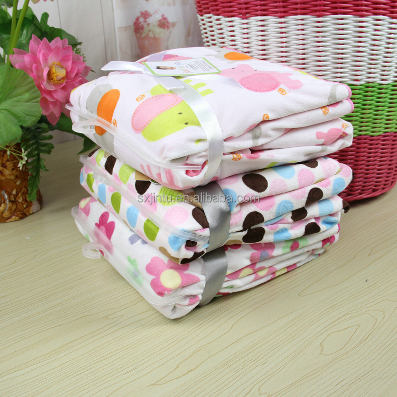 China double-deck printed coral fleece carters baby receiving blankets backside sherpa