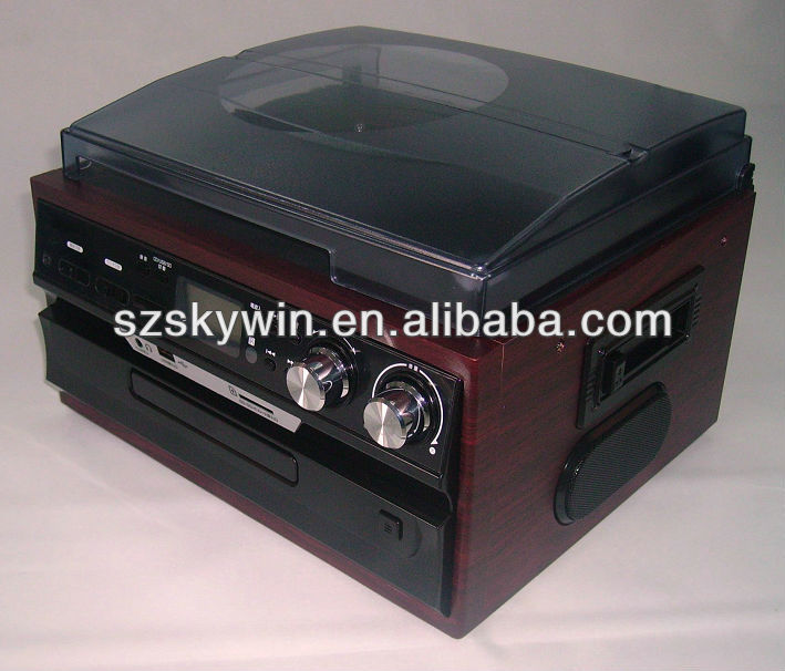 Hot LP vinyl record player with turntable/cassette /radio/ CD player