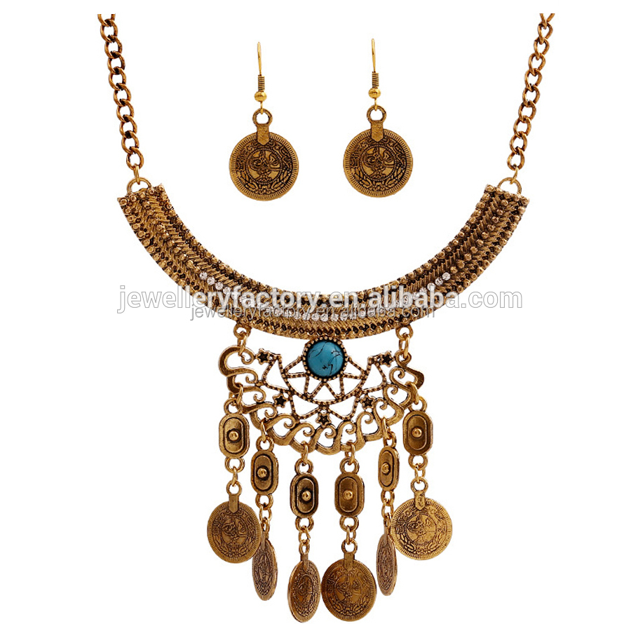 Top Sales Retro Necklace&Earrings Set Coin Drop Jewelry
