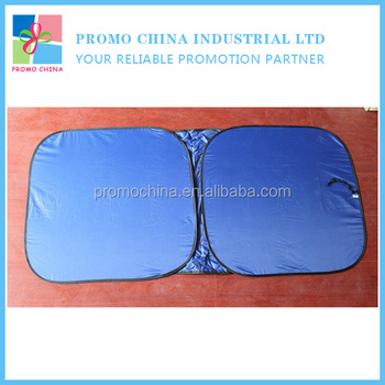 Customized Navy Blue Square Folding Car Sunshade With Branded LOGO