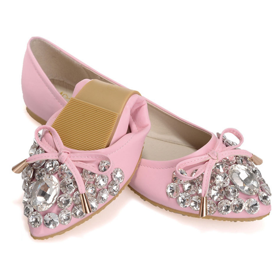 Brand Design Pointed Toe Rhinestone Ballet Flats For Wedding Women Shoes Crystal Bride Shoes Bow Slipon Folded Ballerinas Female