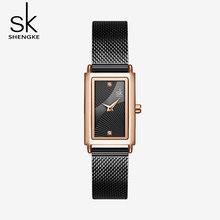 Shengke женские часы модные Geneva дизайнерские женские часы люксовый бренд прямоугольные кварцевые золотые наручные часы Роскошные подарки для ...(China)