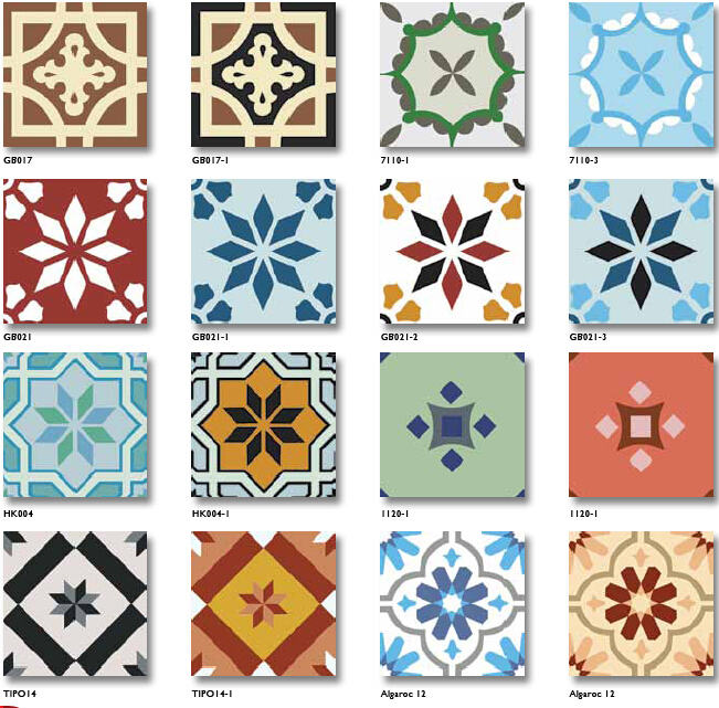 Different handmade encaustic cement floor hand painted for Handmade cement tiles