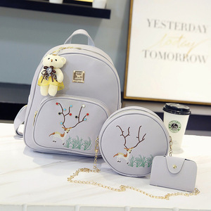 Fashion Women PU Leather Deer Backpack Girl Fancy Embroidery Backpack 3 set bag
