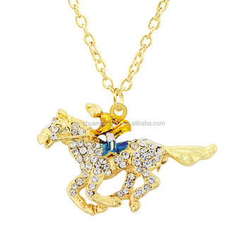 Rhinestone crystal horse pendant gold chain necklaces rider rhinestone crystal horse pendant gold chain necklaces rider necklaces for men jewelry aloadofball Image collections