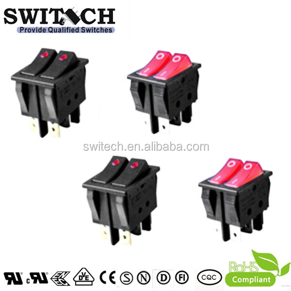 16A 250VAC rocker switch double poles Illuminated with ON-OFF