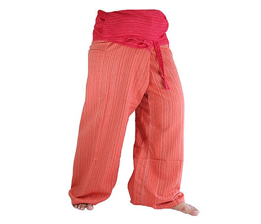 cb812ad5f1f Two Tone Yoga Pants Trousers Thai Fisherman Pants Free Size Cotton Drill  Stripes Red orange