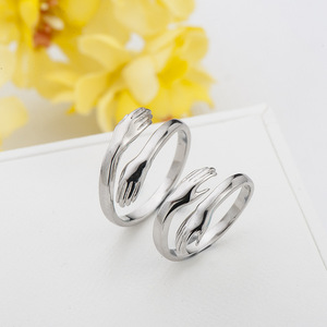 wholesale pure s925 sterling silver hand couple ring blanks jewelry adjustable personalized statement rings