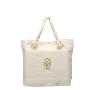2700210 rope handle thick foldable canvas cotton tote fashion beach shopping bag logo printed
