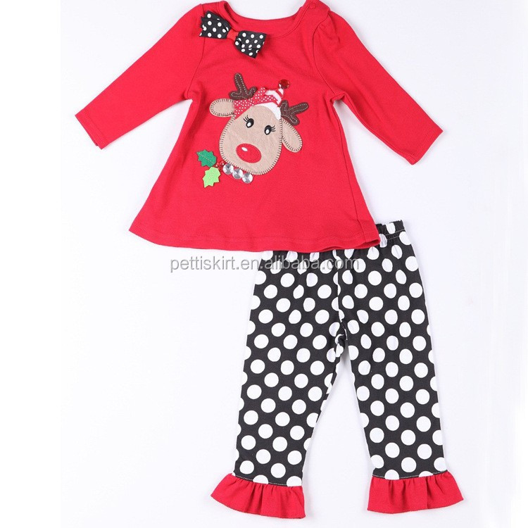 Winter 2 Pcs Baby Outfit Fashion Winter Infant And Toddler Clothing Sets Boutique Tunic Top And Ruffle Pant Outfit
