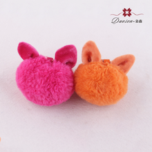 lovely fashion fake fox fur pompom decorative ball key ring accessories, faux fox fur cat ear plush keychain