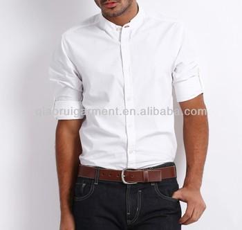 20d45c826 New Design Men's Cotton White Chinese Collar Dress Shirts - Buy New ...