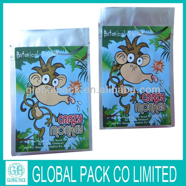 Shinny Printing Plastic Botanical Sachet With Zipper 5G