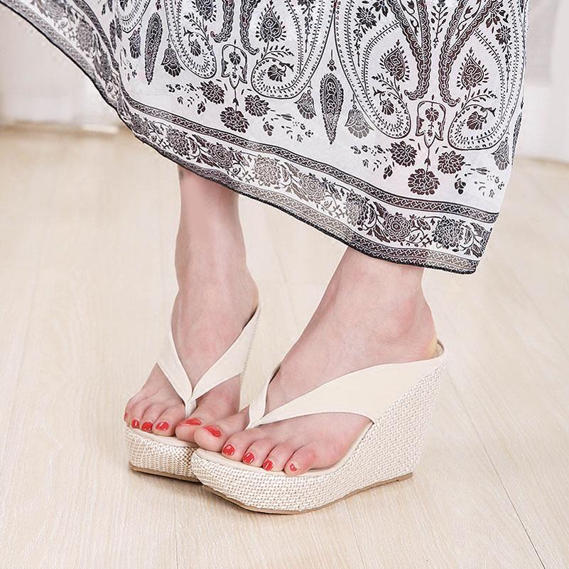 02a89103ea Hot Sale Women Platform High Heels Wedge Slippers Big Size 33-43 Open Toe Flip  Flops Ladies Casual Open Toe Summer Shoes Sandal. Heel ...