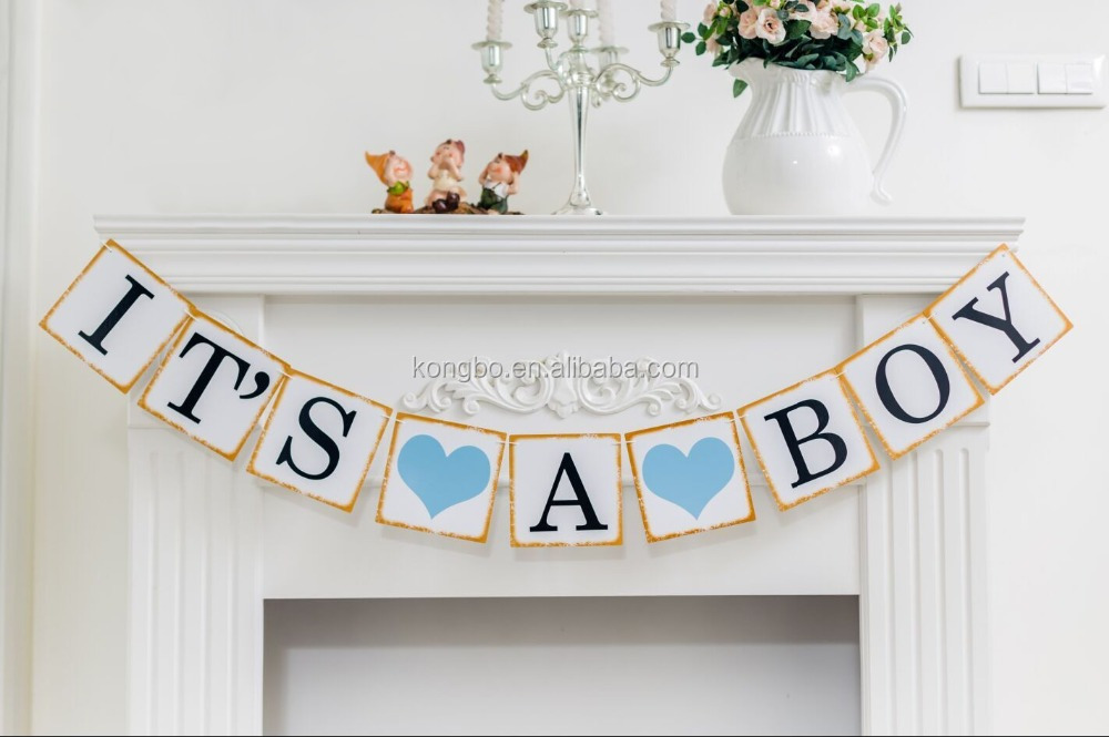 KongBo Shabby Chic Baby Boy Shower Banner Its a Boy Banner