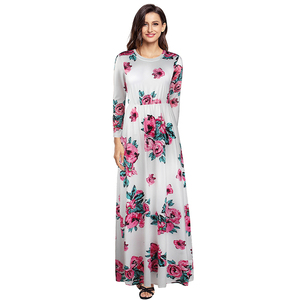 Hot Sell Women Summer Floral Dress Long Sleeve 2018 Summer Maxi Dress