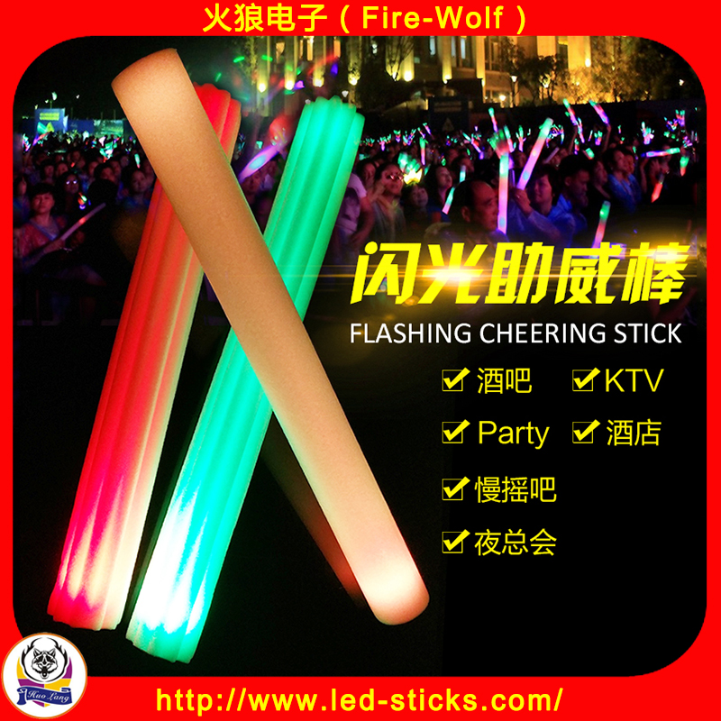 Hot Sale China Factory Custom Print LED Glow Flashing Foam Stick with Customize logo Printing