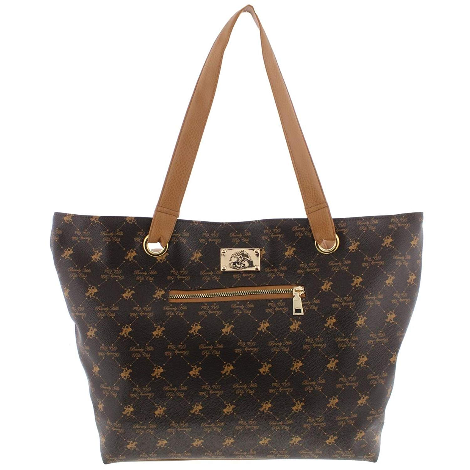 44daea1a4a00 Get Quotations · Beverly Hills Polo Club Womens Printed Faux Leather Tote  Handbag