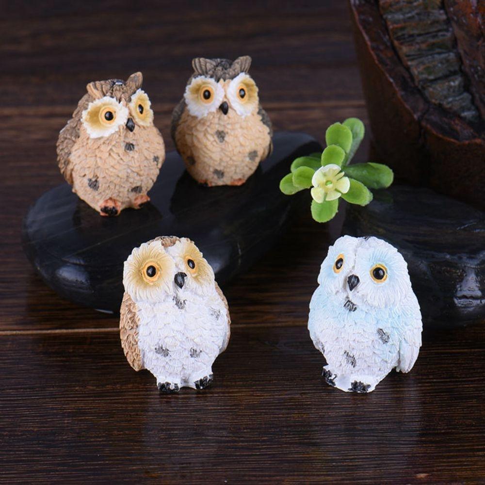 Kuuans 4pcs Cute Moss Home Decoration Miniature Figurine Plant Pots Garden Ornament Resin Owls