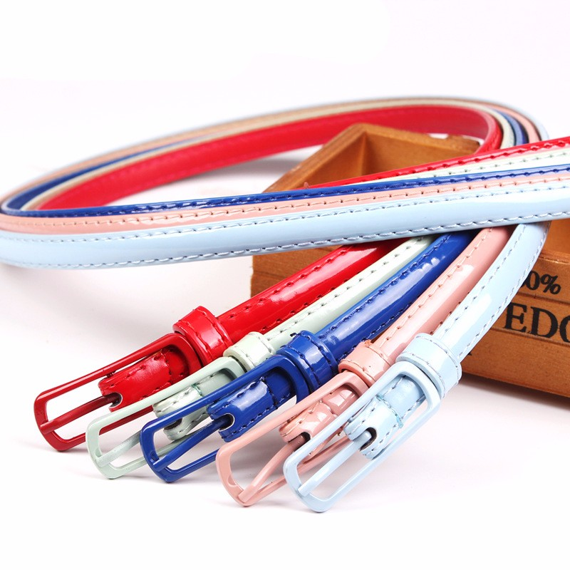 high quality colorful thin cheap leather belts for women dress