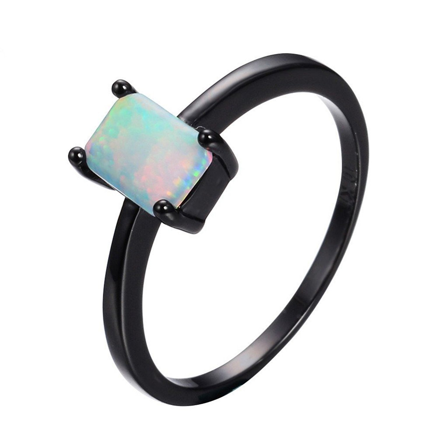 PSRINGS Male Rainbow Fire Opal Ring Black Gold Filled Wedding Party Engagement Promise Ring Best Friend