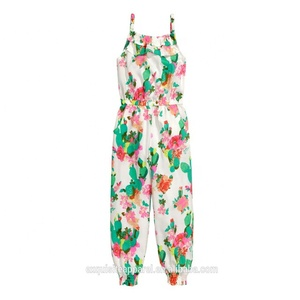 Custom 100% Cotton Kids Jumpsuit Design for Girl/Latest Kids Summer Wear