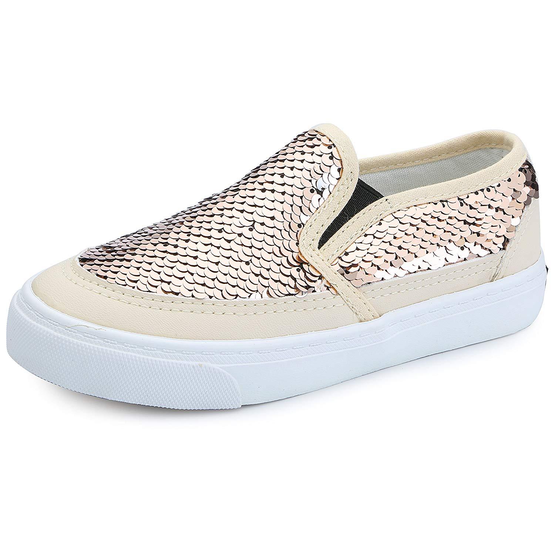 9275ce5eca0 Get Quotations · VECJUNIA Boy s Girl s Sequins Low Top Casual Loafers  Sneakers(Toddler Little Kid Big