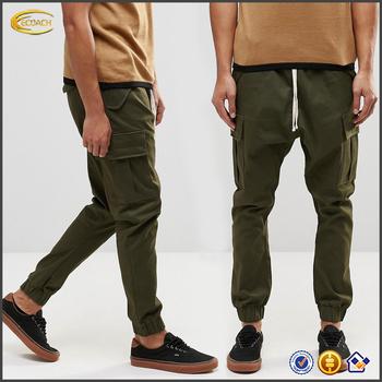 cd4ec73da3 Ecoach color caqui al por mayor drop crotch cordón cintura Pantalones de  carga con bolsillos laterales