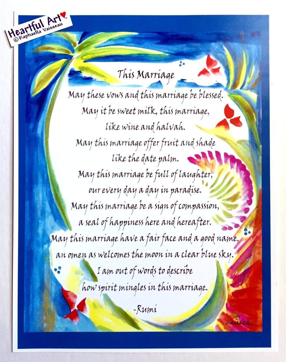 This Marriage 8x11 Rumi wedding poster - Heartful Art by Raphaella Vaisseau